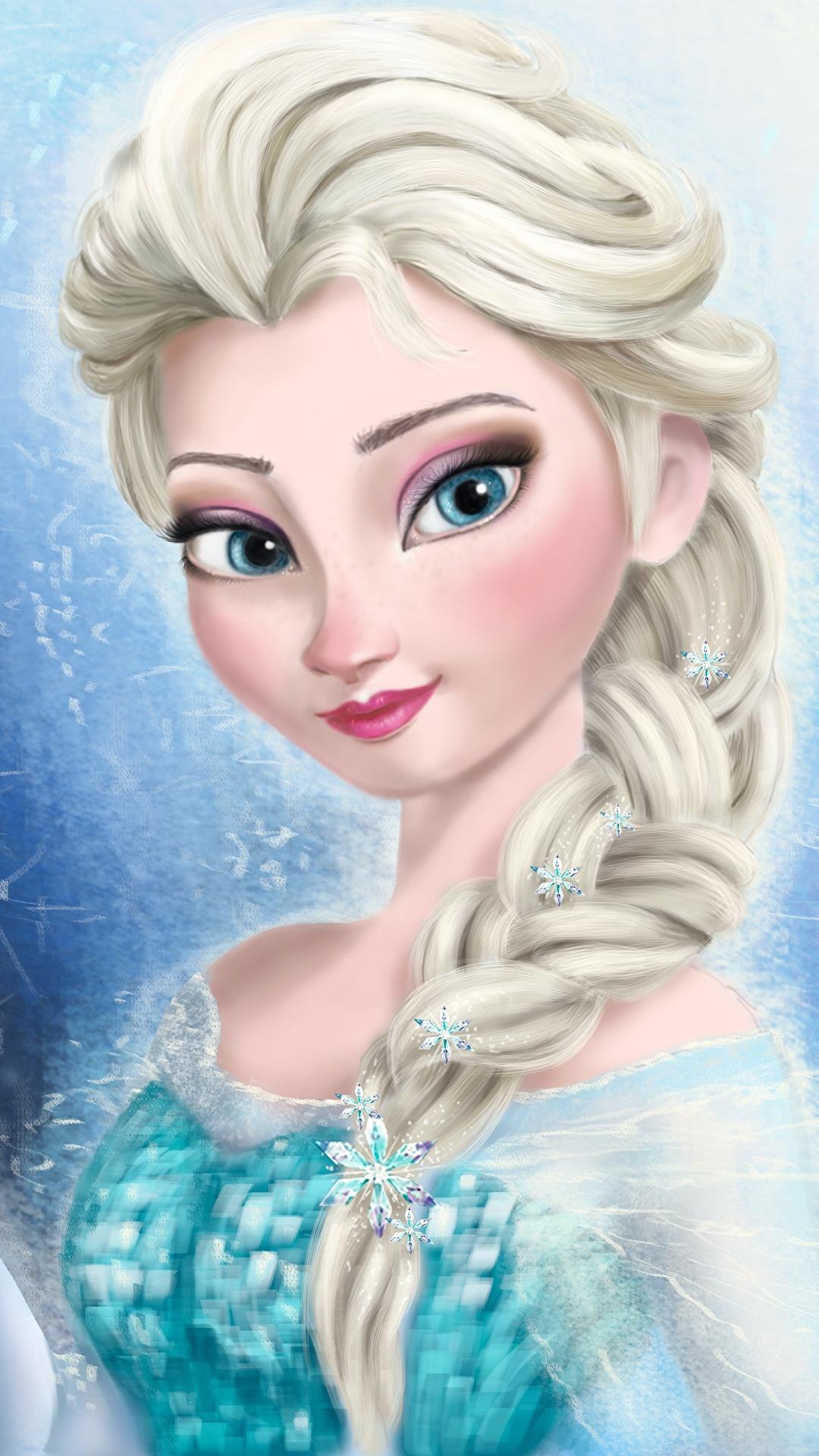 壁紙 1080x1920 アナと雪の女王 ディズニー Queen Elsa 三つ編み
