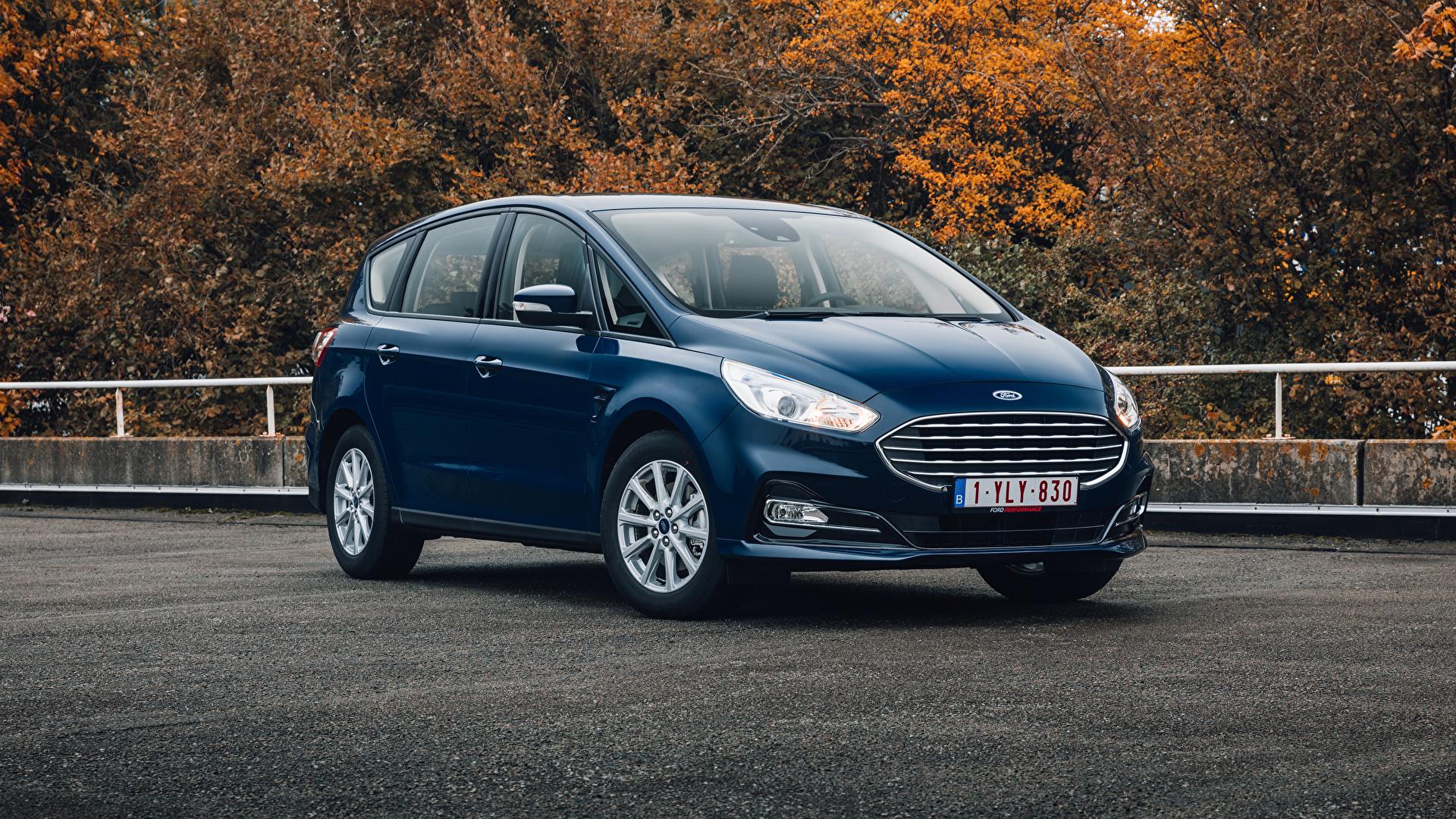 Foto Ford Kombi S-MAX, 2019-- Blau Autos Metallisch 1920x1080 auto automobil