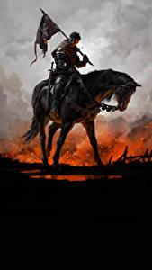 Fotos Pferde Krieger Kingdom Come: Deliverance Rüstung Flagge Fantasy
