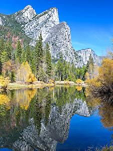 Hintergrundbilder Vereinigte Staaten Park Gebirge See Herbst Landschaftsfotografie Yosemite Bäume Natur