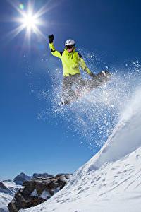 Bilder Winter Skisport Snowboard Sprung Schnee Sonne Sport