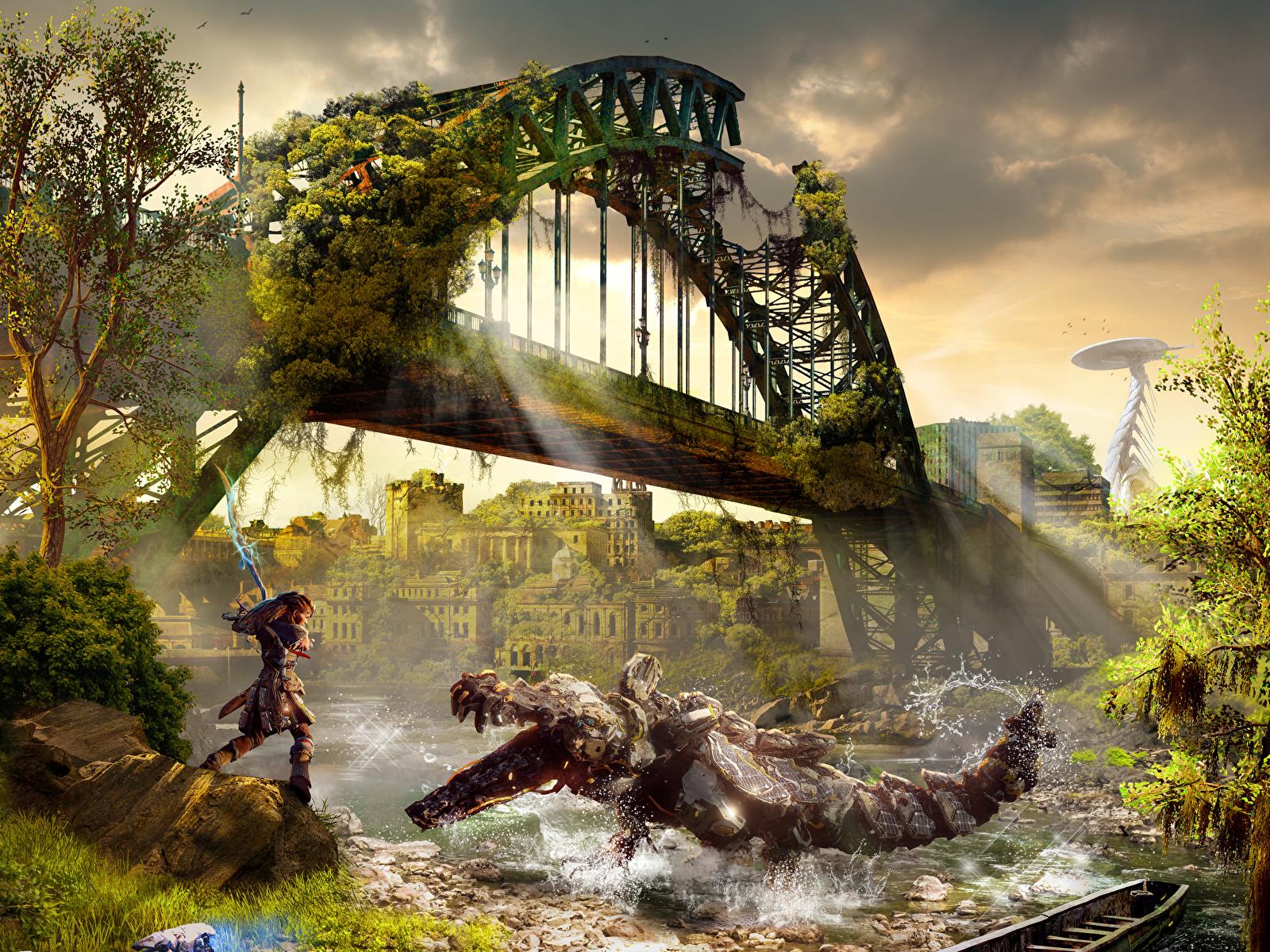 Picture Horizon Zero Dawn Monster Warriors Bridge Fantasy 1600x1200