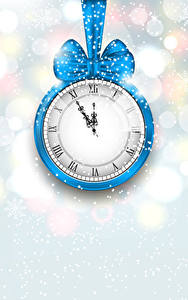 Pictures Christmas Clock Snow Bowknot