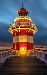 Fotos Leuchtturm Abend Deutschland Brücken Zaun Rheinsberg Lighthouse Städte
