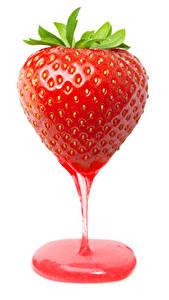 Fotos Erdbeeren Großansicht Fruchtsaft Weißer hintergrund das Essen
