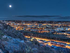 Fotos Schweden Gebäude Mond Nacht Gothenburg Städte
