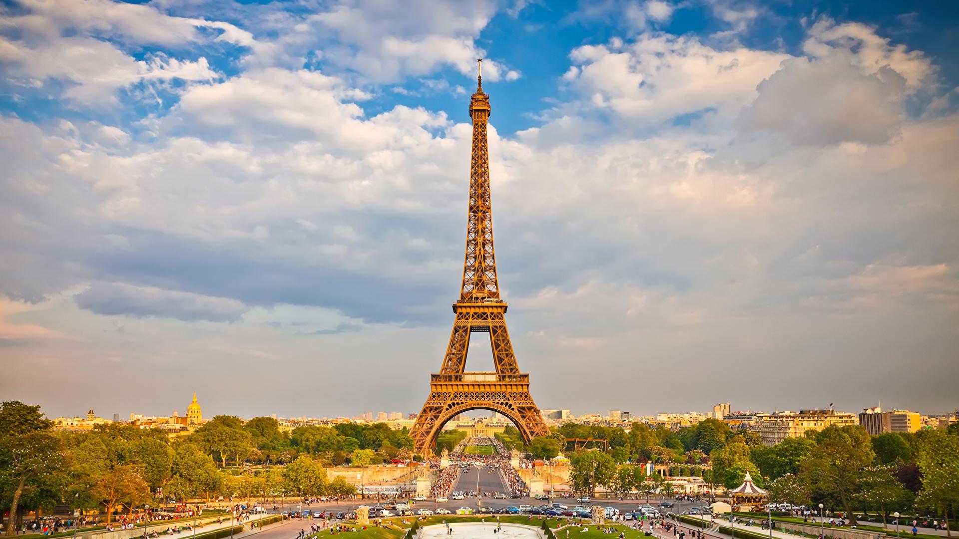壁紙 19x1080 フランス 空 パリ エッフェル塔 雲 都市 ダウンロード 写真