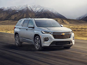 Картинки Chevrolet Серая 2021 Traverse High Country автомобиль
