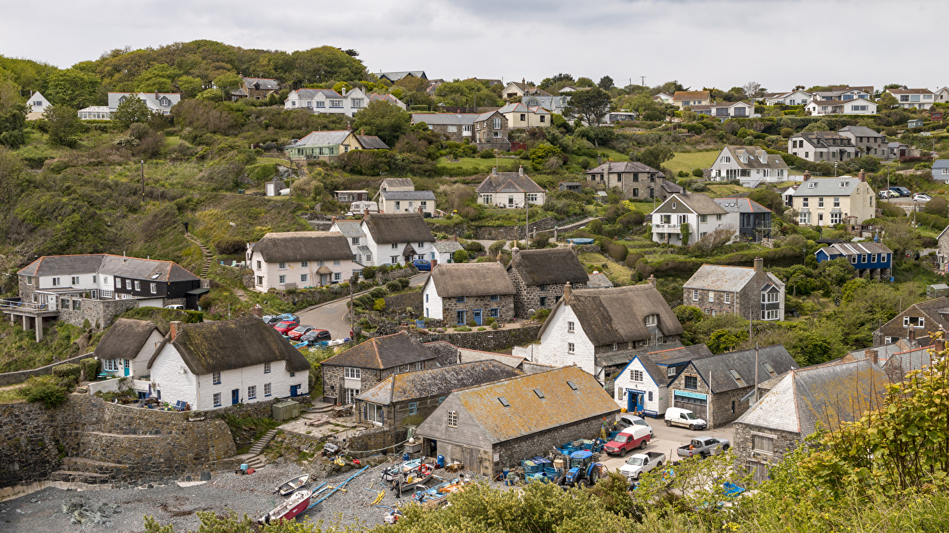 1366x768、イギリス、住宅、Cadgwith Cove、村、屋根、建物、都市、
