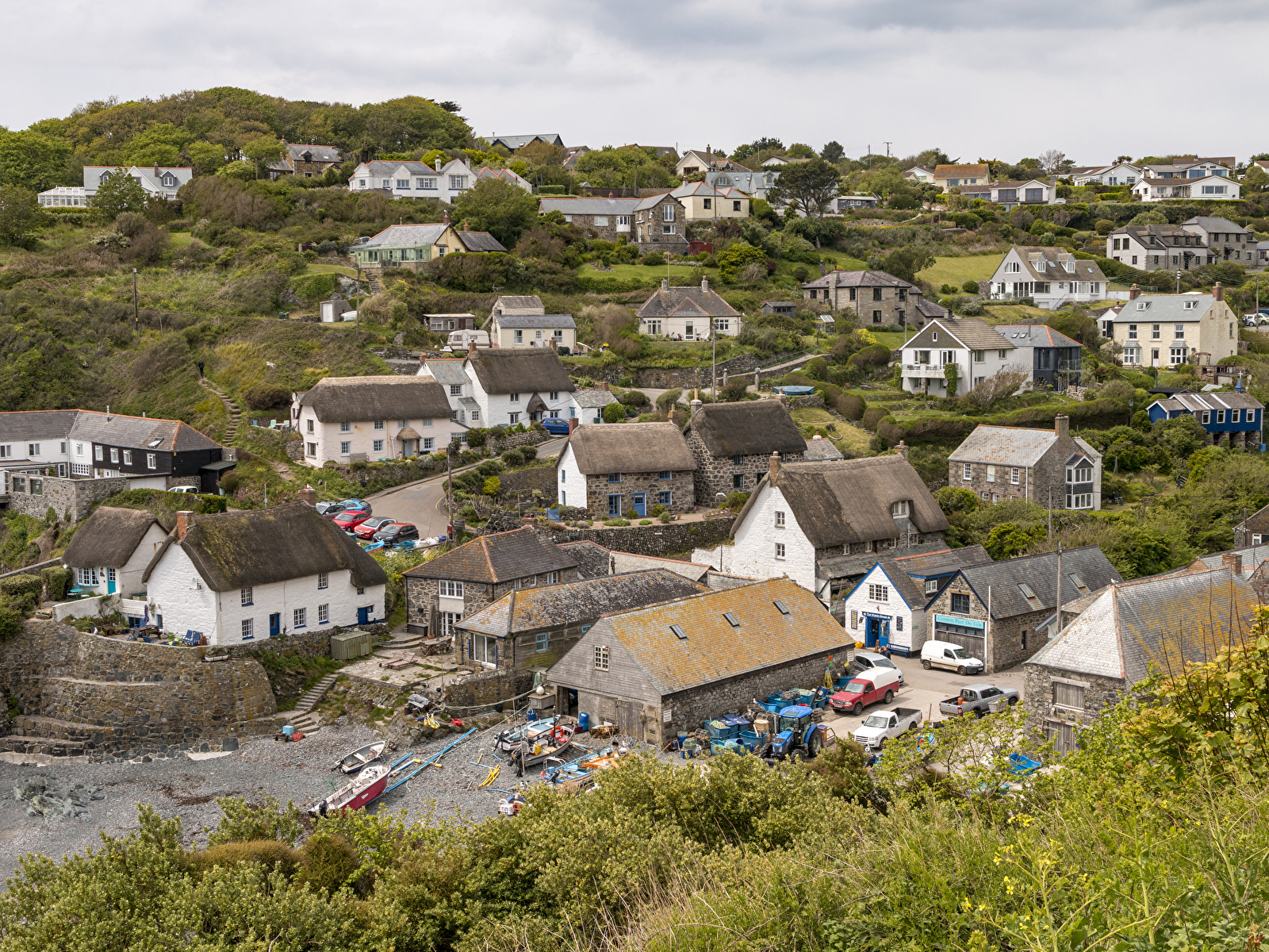 1600x1200、イギリス、住宅、Cadgwith Cove、村、屋根、建物、都市、