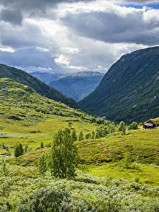 Hintergrundbilder Norwegen Gebirge Grünland Wolke Tindevegen Natur