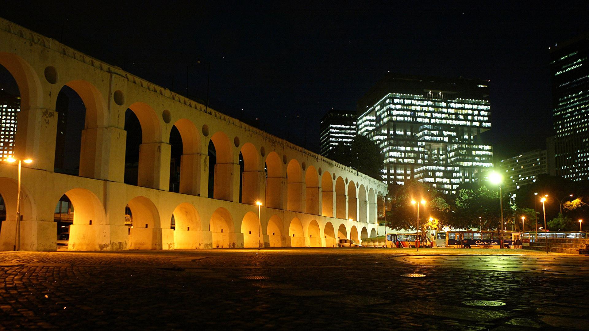 Wallpaper Rio De Janeiro Brazil Arch Night Street Lights 1920x1080