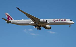 Bilder Airbus Flugzeuge Verkehrsflugzeug Seitlich A350-1000, Qatar Airways
