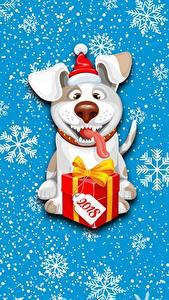 Bilder Hunde Neujahr Schneeflocken Geschenke 2018 ein Tier