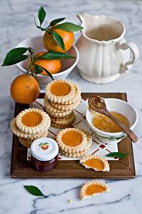 Hintergrundbilder Kekse Mandarine Konfitüre Weckglas Kanne das Essen