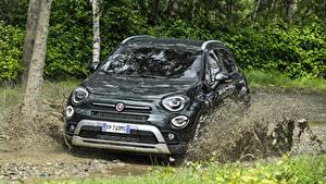 Hintergrundbilder Fiat Grün Metallisch Schlamm 2018 500X Cross Autos