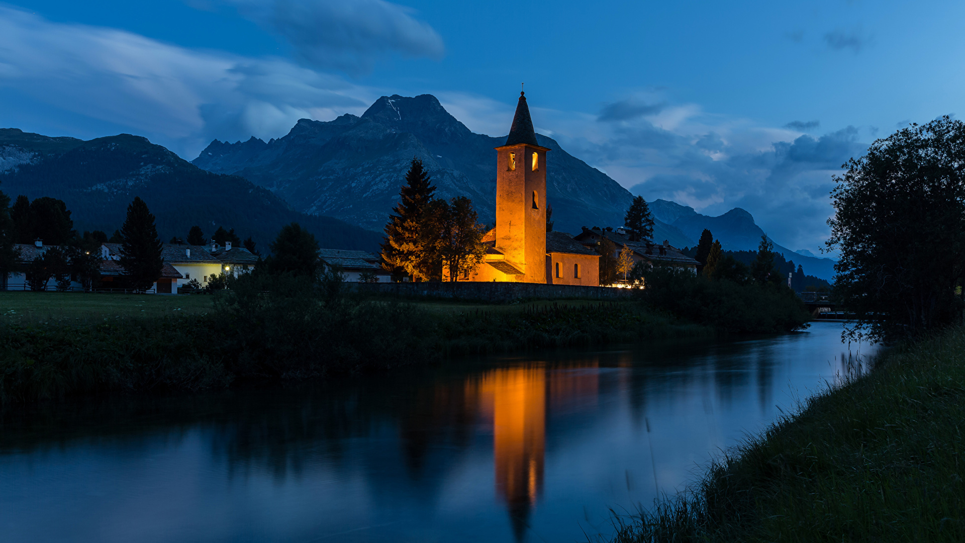Wallpaper Switzerland Sils mountain river Temples night time Houses Cities 1920x1080 Mountains Night temple Rivers Building