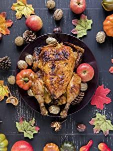 Fotos Herbst Hühnerbraten Äpfel Blatt