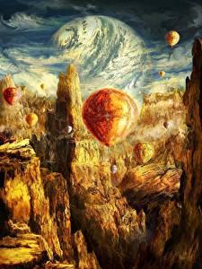 Hintergrundbilder Fantastische Welt Gebirge Heißluftballon Fantasy