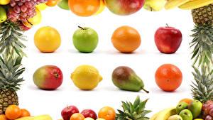 Fotos Obst Äpfel Birnen Orange Frucht Avocado Zitrone Weintraube Bananen Weißer hintergrund