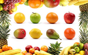 Wallpapers Fruit Apples Pears Orange fruit Avocado Lemons Grapes Bananas White background