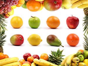 Wallpapers Fruit Apples Pears Orange fruit Avocado Lemons Grapes Bananas White background