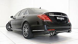 Bilder Mercedes-Benz Brabus Hinten Schwarz Auto Scheinwerfer Limousine Metallisch Hybrid Autos S-Klasse W222, 2015, B50