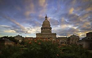 Bilder Vereinigte Staaten Gebäude Himmel Abend Texas State Capitol Städte