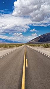 Bilder USA Wege Himmel Asphalt Kalifornien Wolke Death Valley National Park Natur