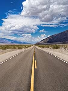 Bilder USA Wege Himmel Asphalt Kalifornien Wolke Death Valley National Park Natur