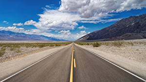 Bilder USA Wege Himmel Asphalt Kalifornien Wolke Death Valley National Park