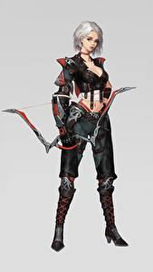 Fotos Krieger Bogenschütze Grauer Hintergrund Bogen Waffen Cotta Fantasy Mädchens