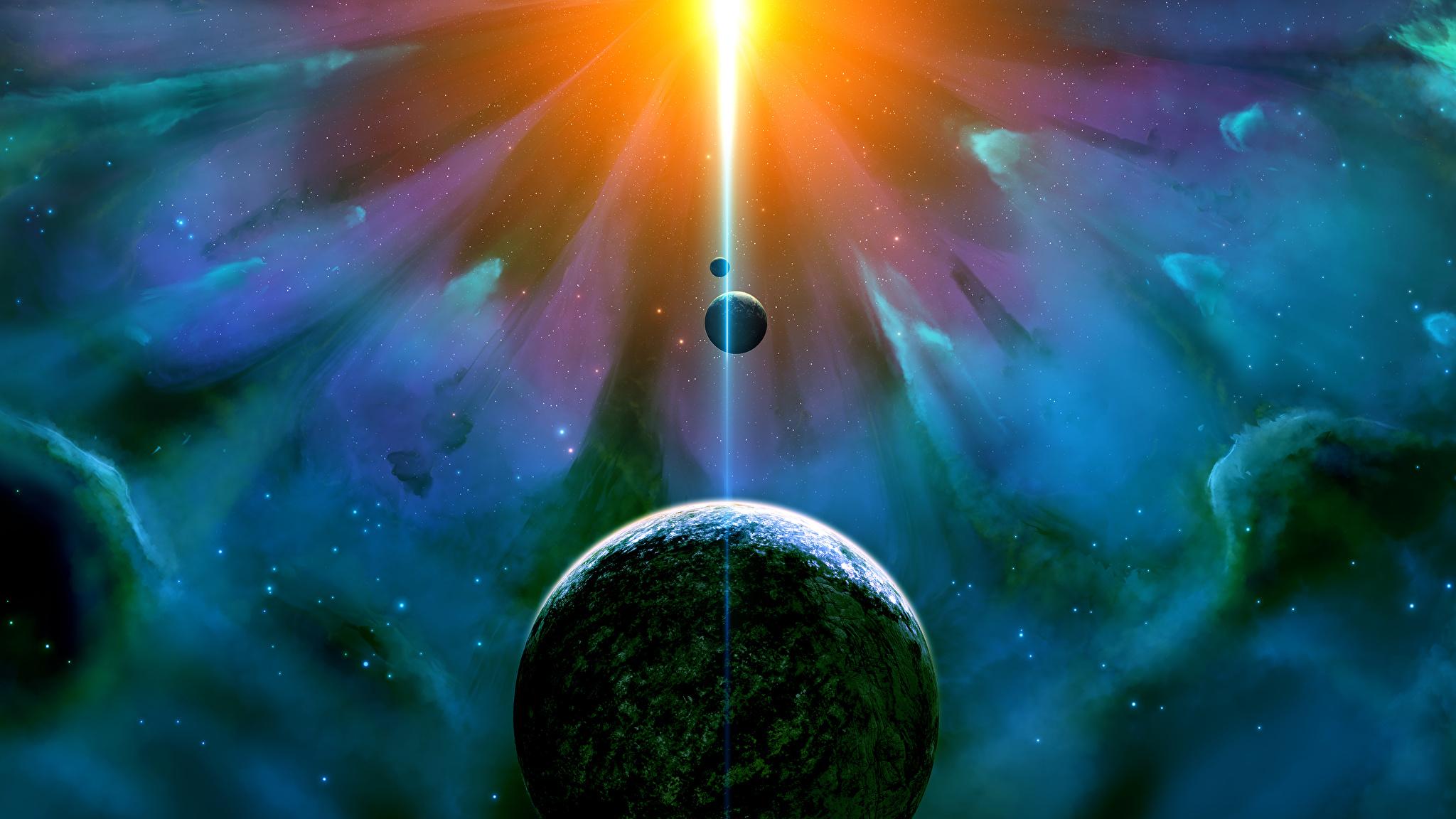 Fonds Decran 2048x1152 Planètes Nébuleuse No Espaço сosmos