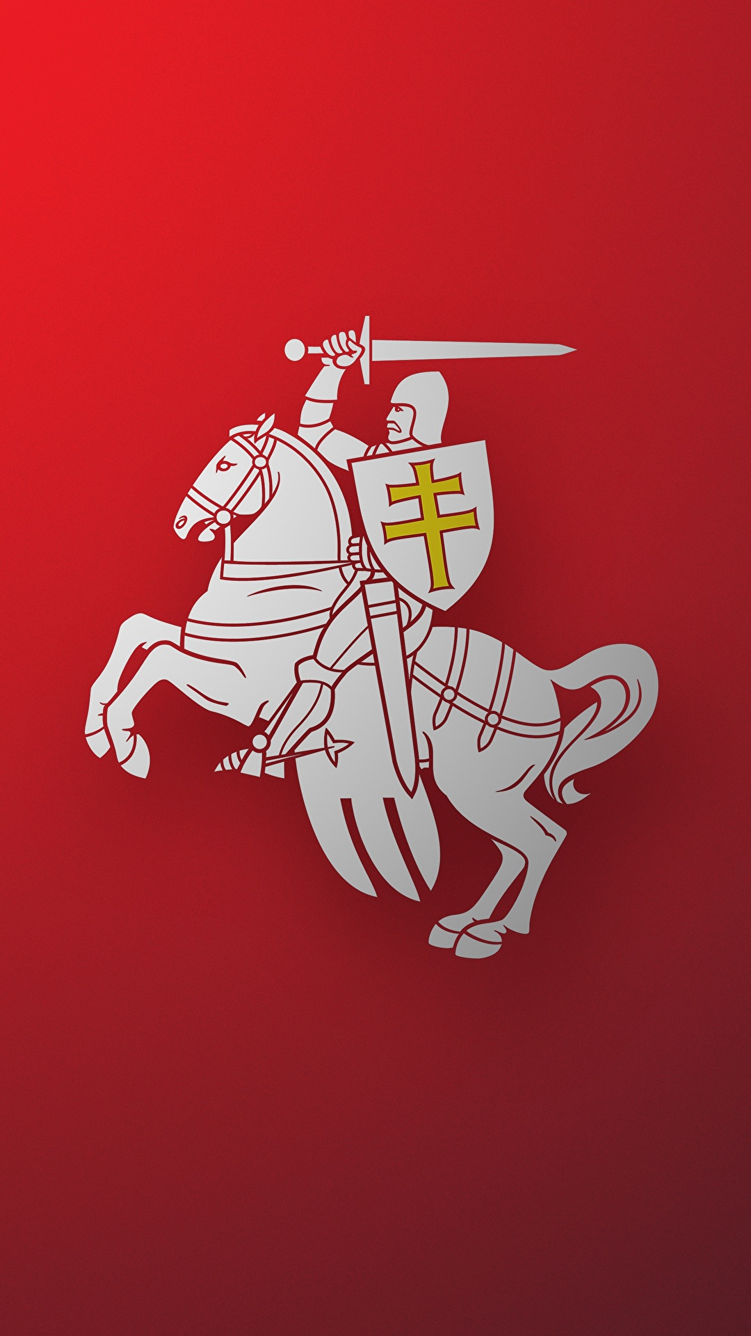Picture Horses Knight Belarus Herbas Bnr Coat Of Arms Red 1080x1920