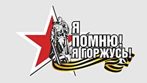 Bilder Feiertage Tag des Sieges 9 Mai Vektorgrafik Text Weißer hintergrund Russischer
