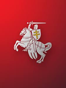 Bilder Hauspferd Ritter Belarus Roter Hintergrund Герб Herbas BNR