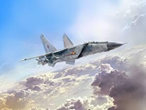 Hintergrundbilder Gezeichnet Flugzeuge Jagdflugzeug Russische Ivan Khivrenko, MiG-25PD Luftfahrt