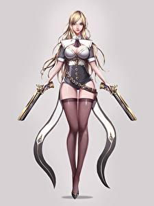 Wallpaper Pistol Gray background Beautiful Legs Stockings Blonde girl jangwon park Fantasy Girls