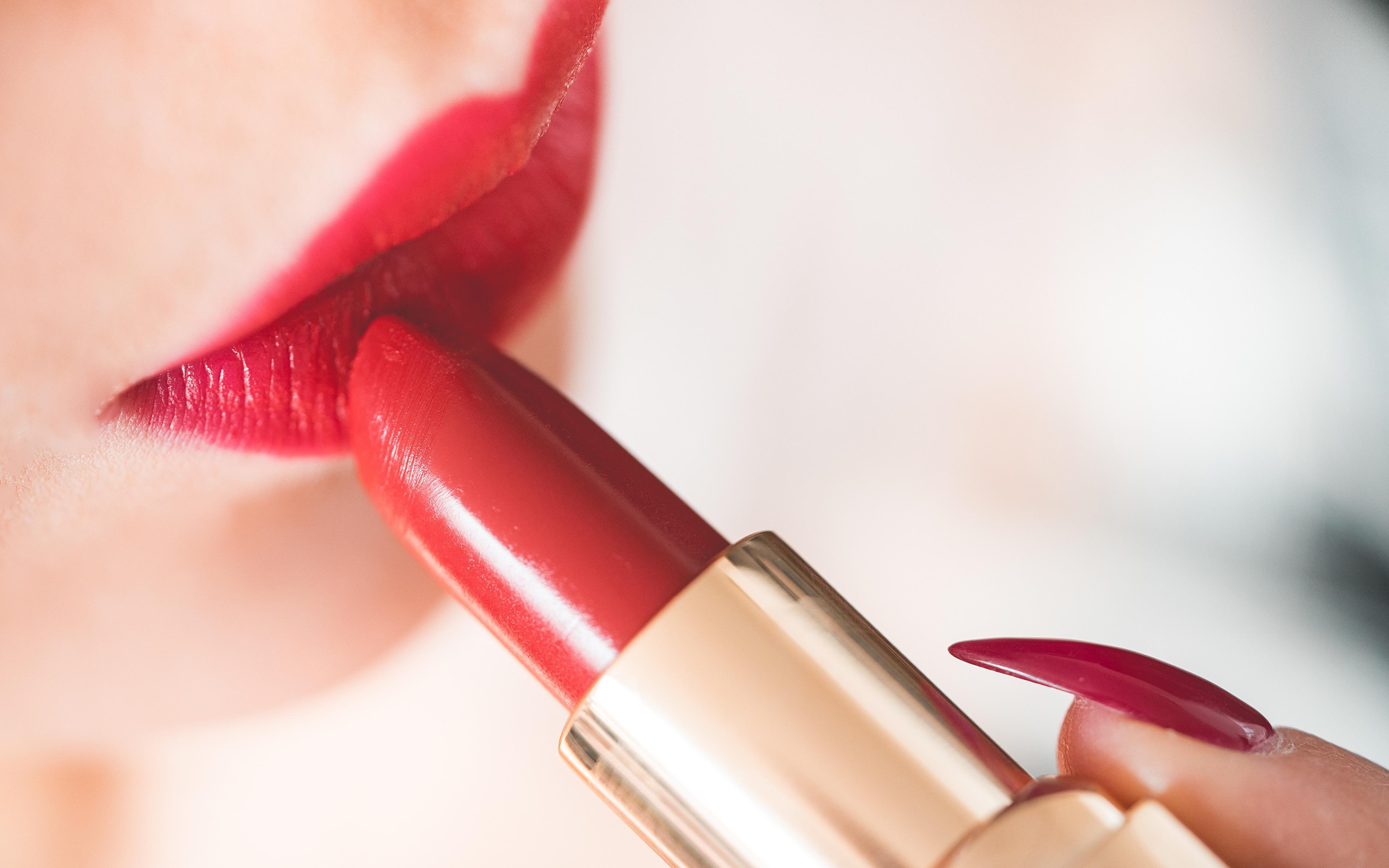 壁紙 3840x2400 口紅 クローズアップ 赤い唇 マニキュア 少女 ダウンロード 写真