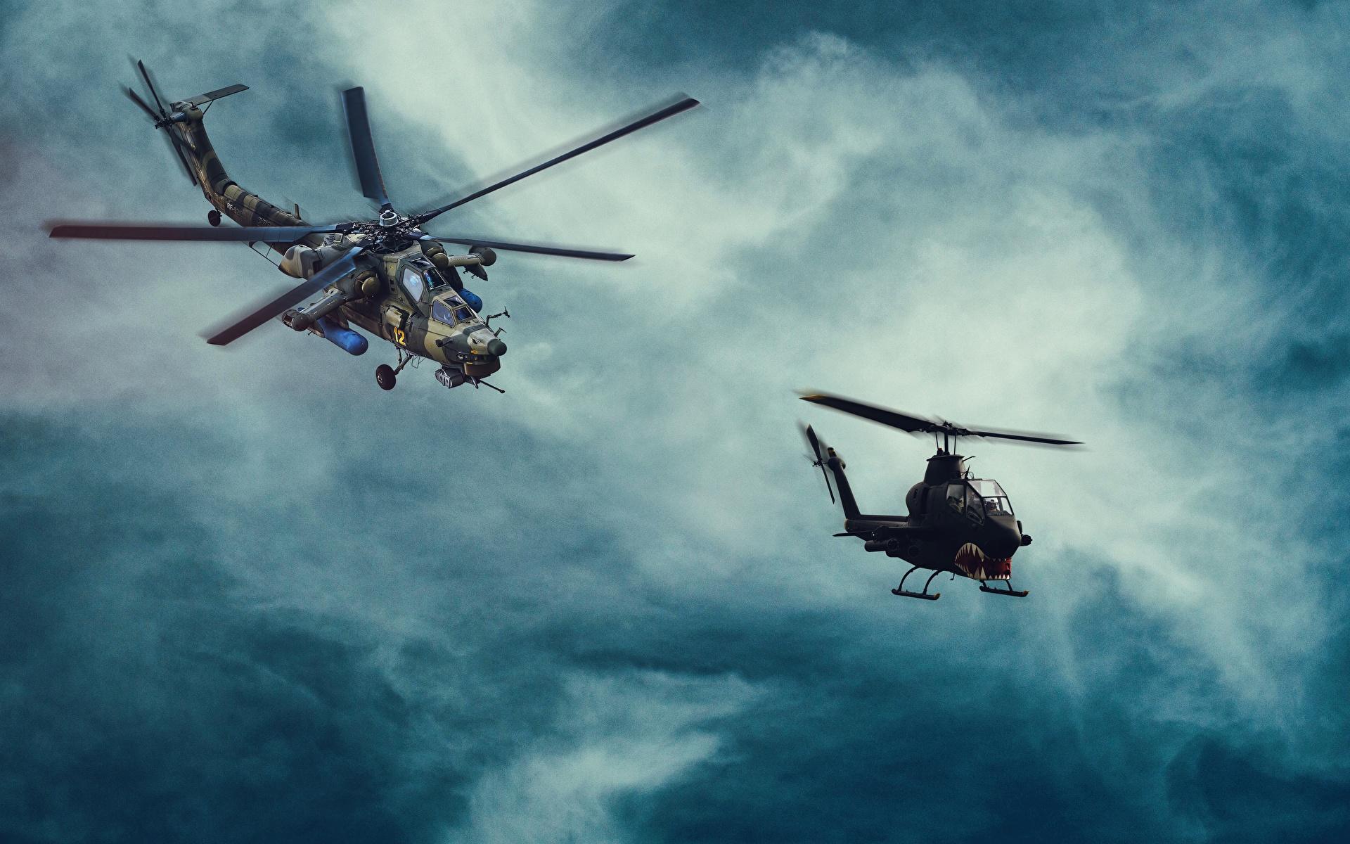 Hintergrundbilder Hubschrauber US Russische MI-28, Havoc Bell AH-1 Cobra Luftfahrt 1920x1200 Amerikanisch