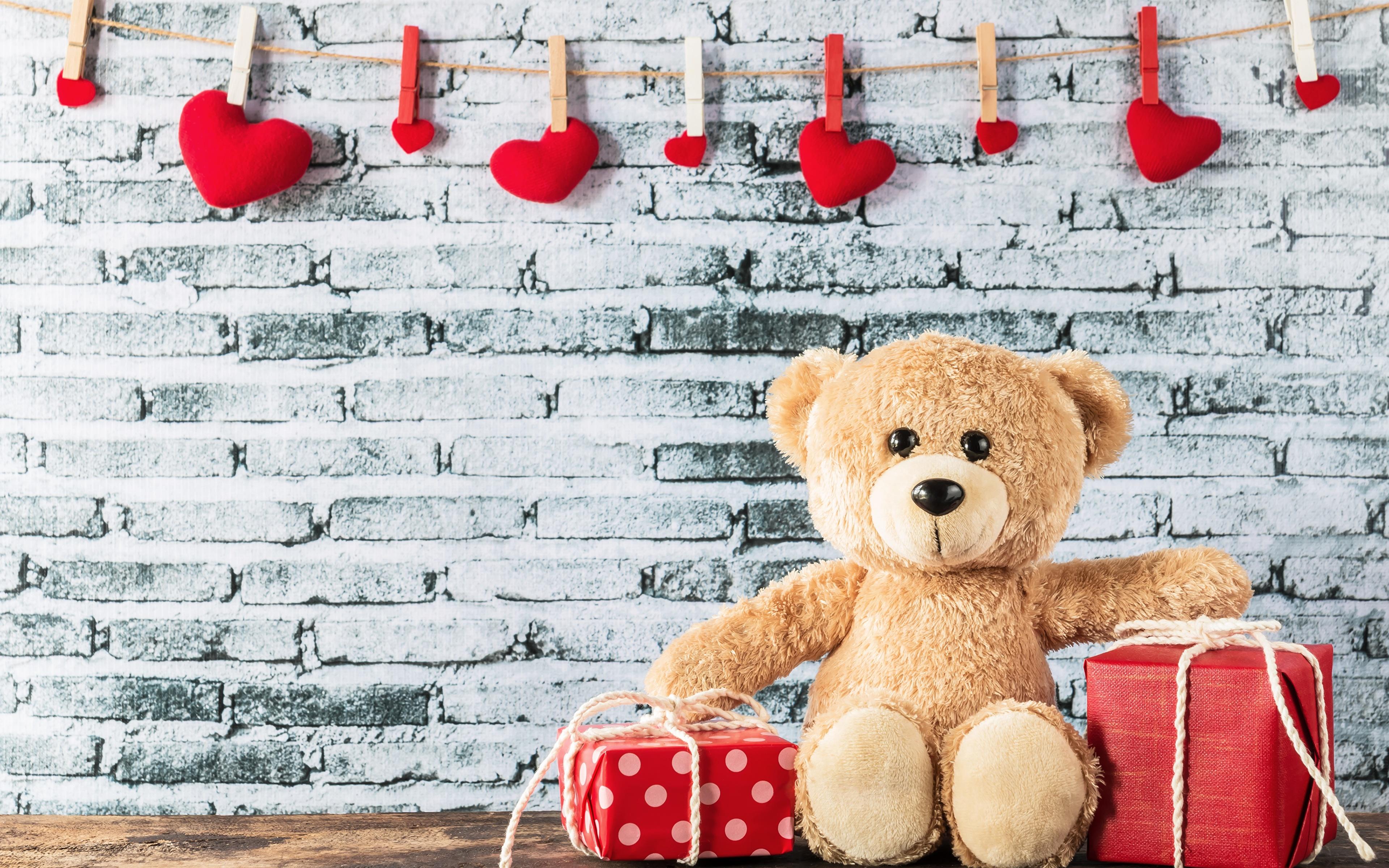 Bilder von Valentinstag Herz Geschenke Teddybär 3840x2400 Teddy Knuddelbär