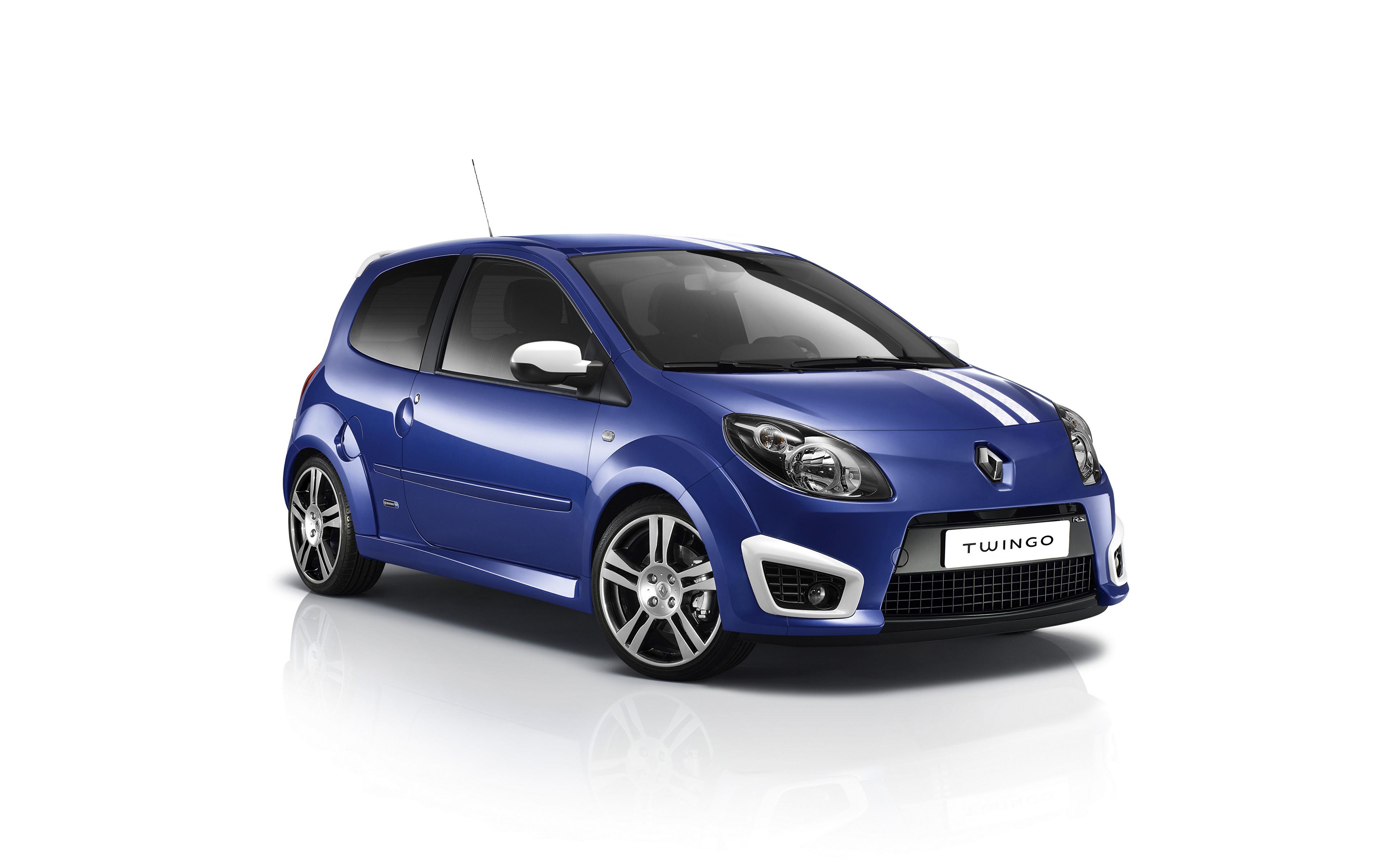 Fotos Renault Blau Autos Metallisch Weißer hintergrund 3840x2400 auto automobil