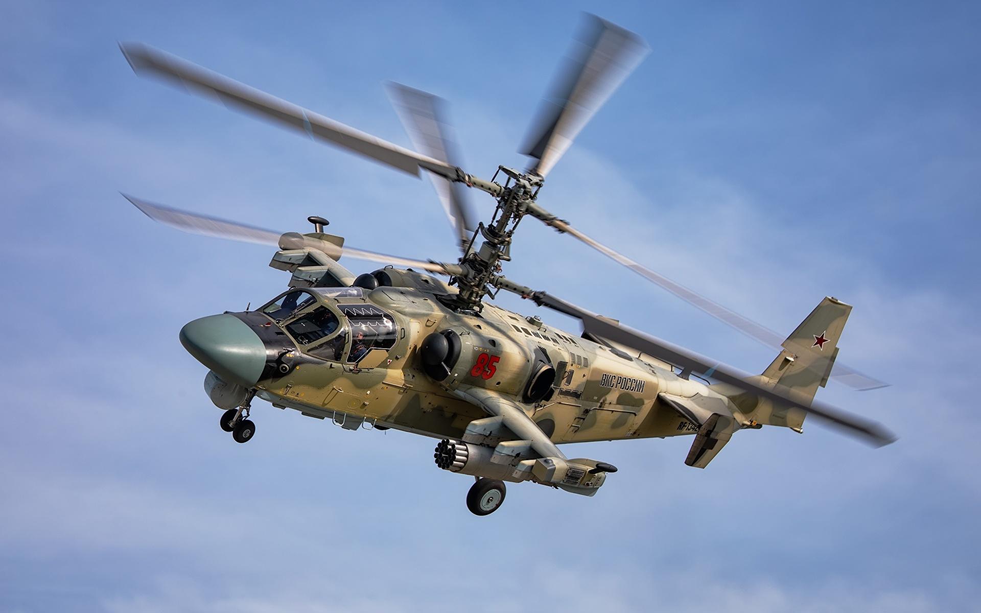 Fotos von Hubschrauber Russische Ka-52 Alligator Flug Luftfahrt 1920x1200