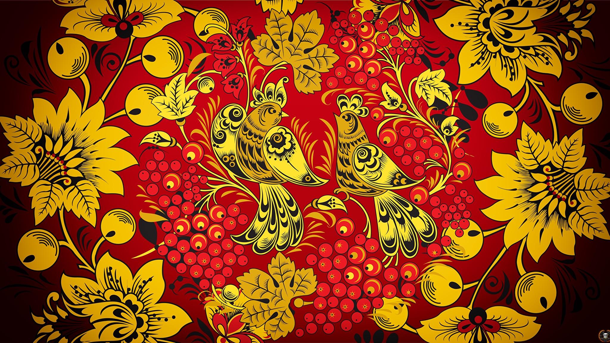 Bilder von Vögel Textur Russische Khokhloma 2048x1152