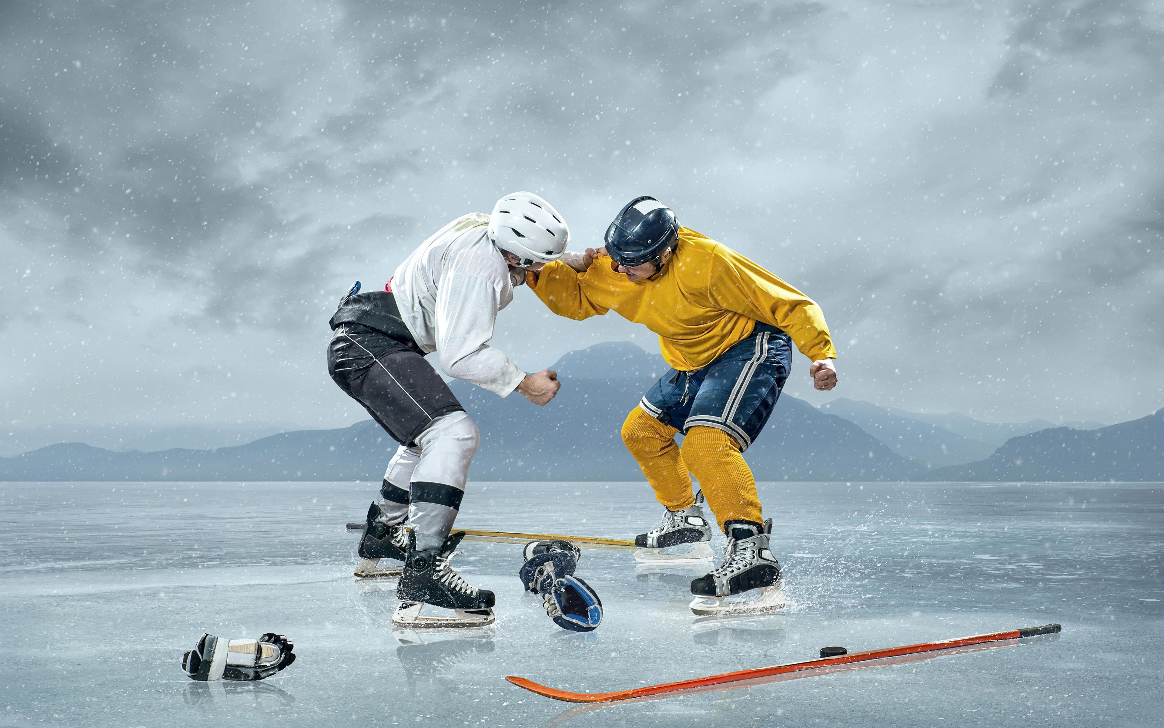 Bilder Helm Mann Eis Zwei Sport Schlägerei Hockey Uniform 3840x2400 2