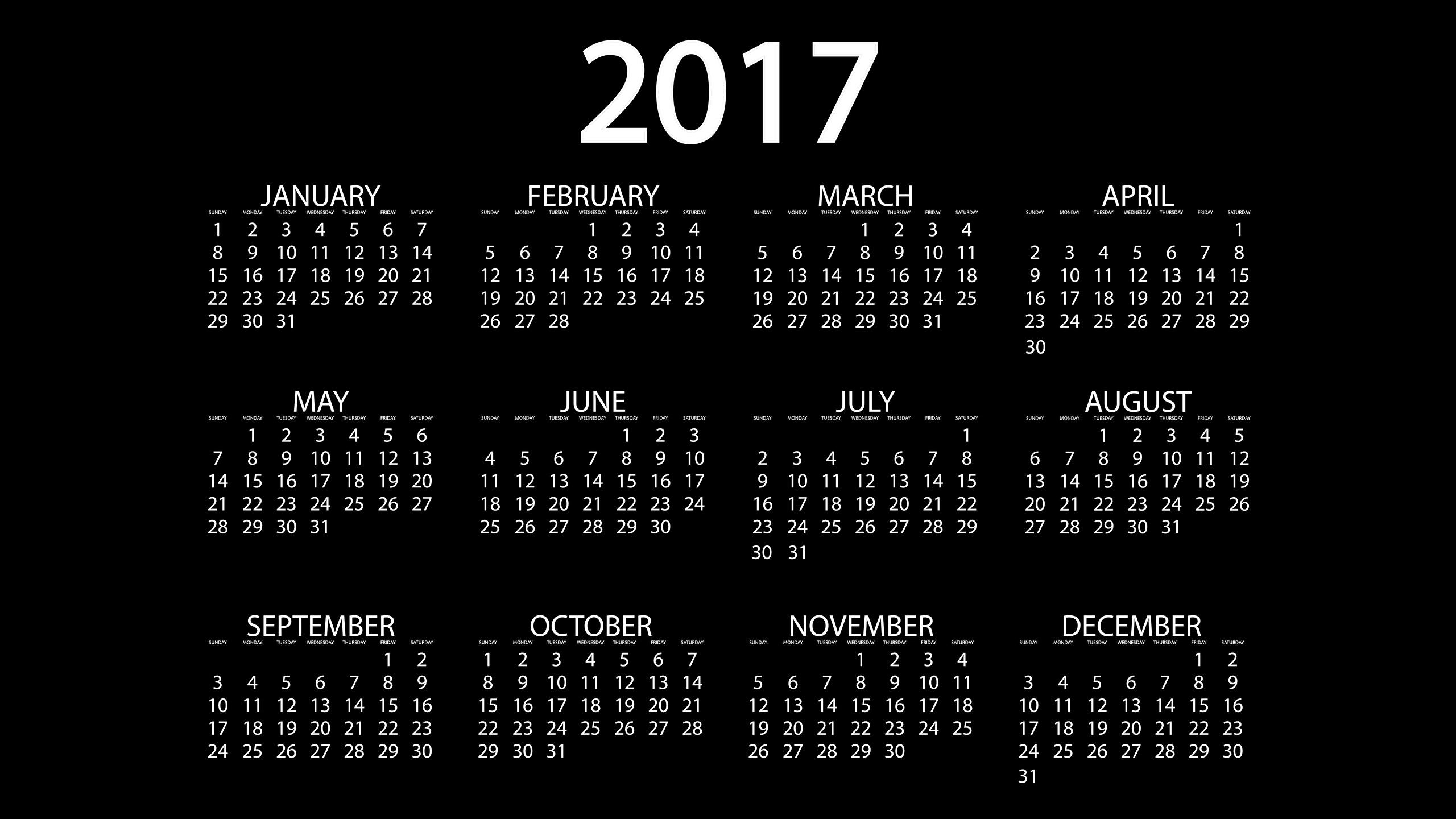 Fonds Decran 2560x1440 2017 Calendrier Fond Noir Anglais