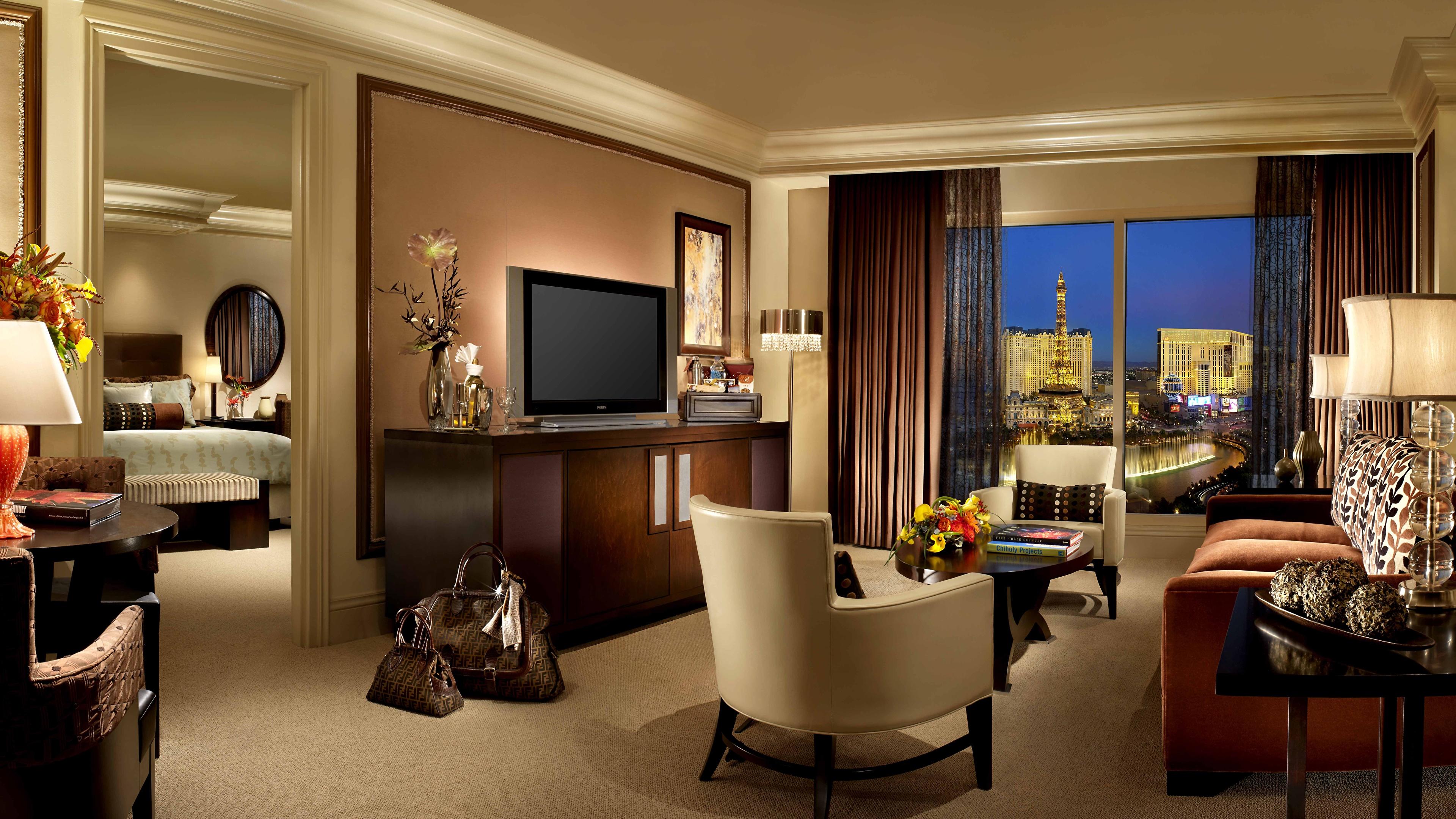 壁紙 3840x2160 インテリア 椅子 テレビ 居間 部屋 ホテル
