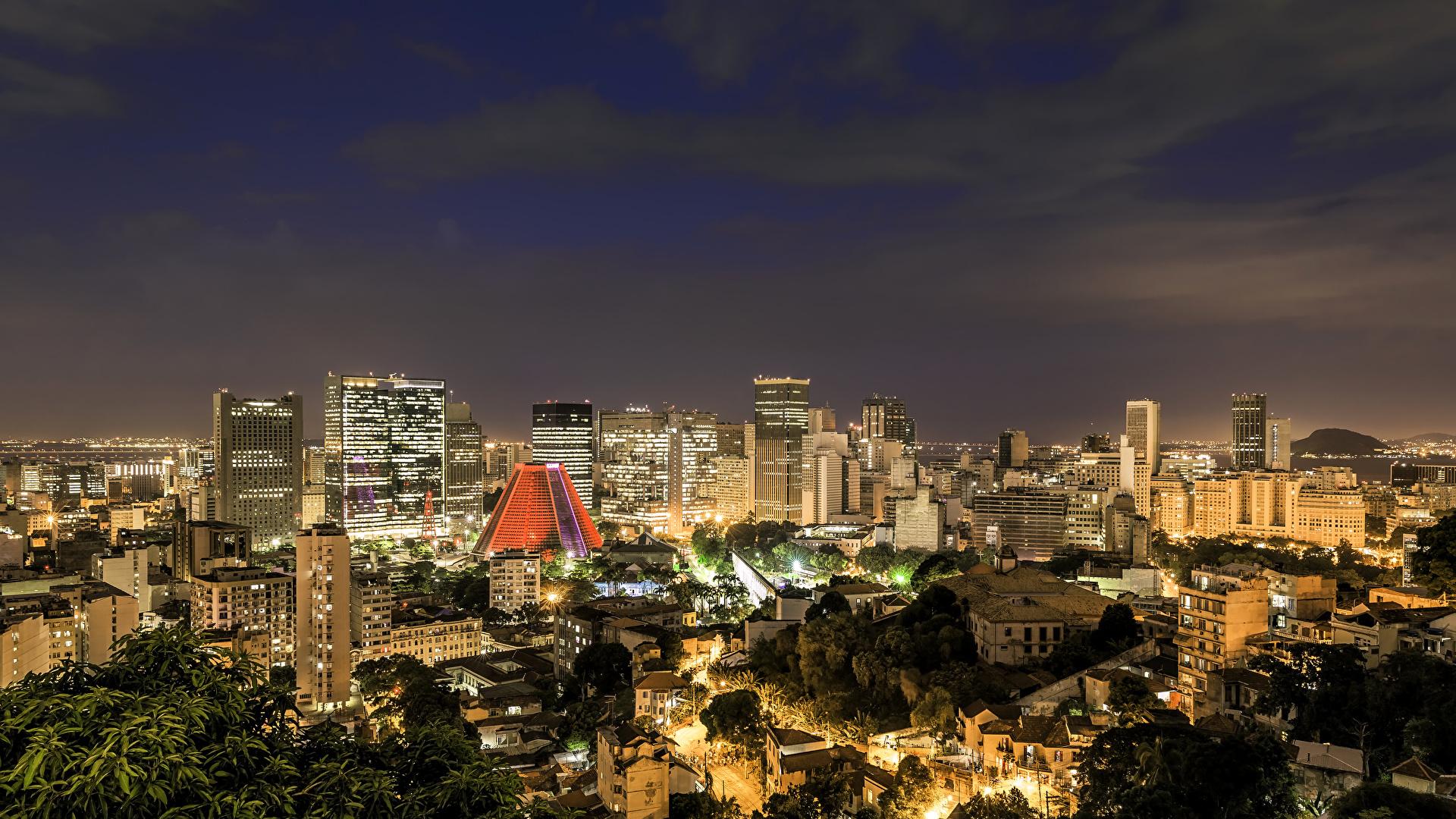 Images Rio De Janeiro Brazil Megapolis Night Cities Houses 1920x1080