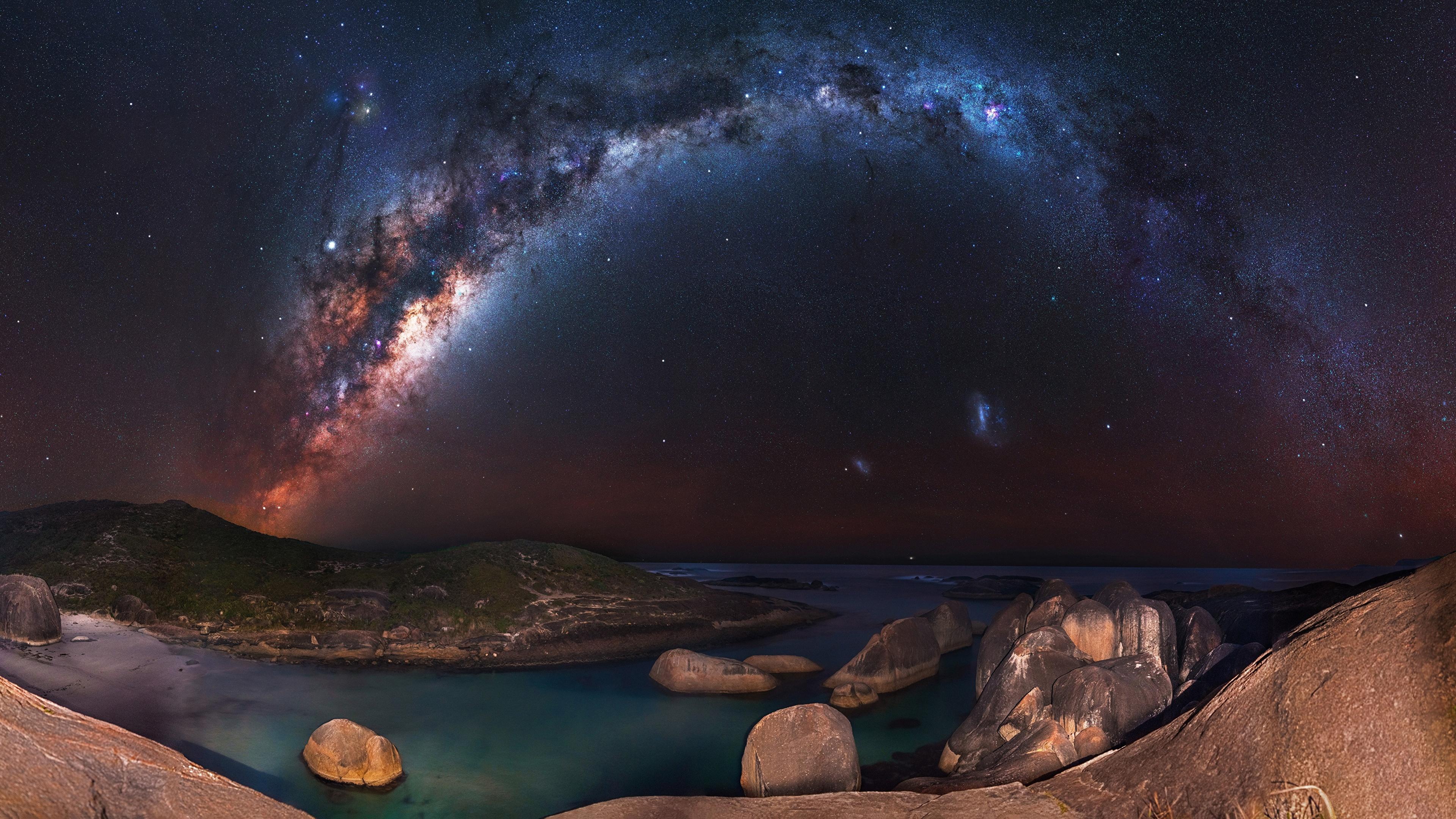 壁紙 3840x2160 天の川 空 海岸 夜 自然 宇宙空間