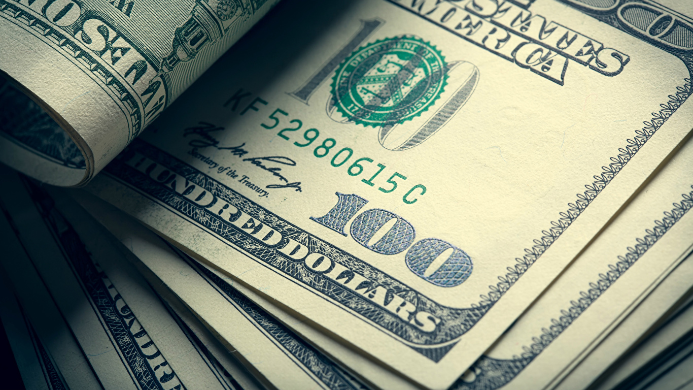 Pictures Dollars Banknotes 100 Money Closeup 1366x768